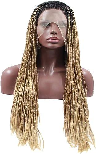 Wig girl Cheveux tressés synthétiques, Perruque en Perruque de Lacet en Cheveux Humains, Perruque Naturelle féminine en Dentelle résistant à la Chaleur et à la Chaleur, HalFaibleeen, Shopping