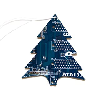 Blue Christmas Tree Ornament, recycled circuit board, gift for computer geeks