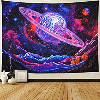 Leofanger Galaxy Tapestry Trippy Planet Tapestry Psychedelic Mountain Wall Tapestry Space Tapestry Starry Sky Tapestry Forest Tree Tapestry Wall Hanging for Home Decor 78.7 x59.1