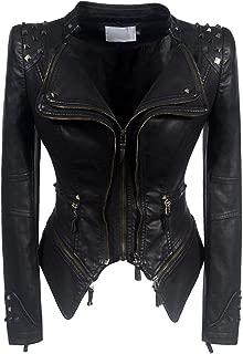 DISSA P603 Women Faux Leather Biker Jacket Slim Coat Leather Jacket