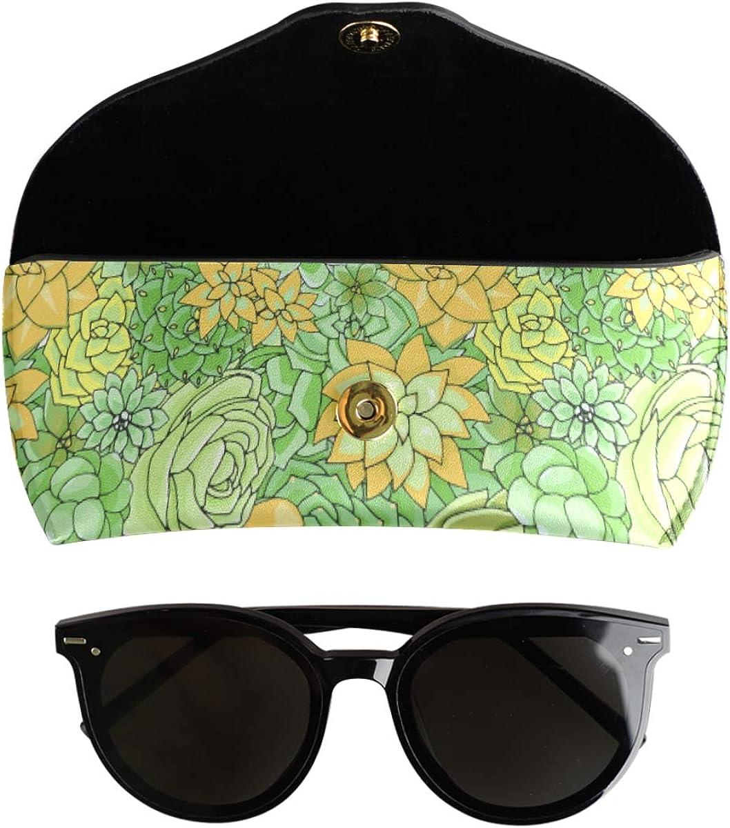 Succulents Multiuse present Goggles Bag Sunglasses Case Eyeglasses Pouch PU Leather Portable