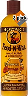 Howard Products FW0016 Feed-N-Wax Wood Polish and Conditioner, Beeswax &, 16 oz, orange, 16 Fl Oz - 3 Pack