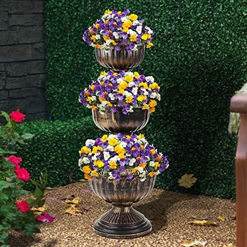 SmashingDealsDirect 3 Tire Flower Fountain Planter Indoor Outdoor Garden Flower Plant Pot Stand display Antique Bronze Effect