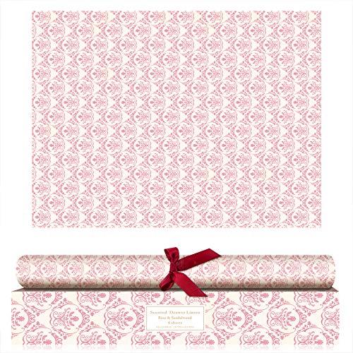 SCENTORINI Papel de Cajones de Fragancia de Rosa, Perfumada para Armario Gabinete, 42 cm x 58 cm, 6 Hojas Rosa - Rosa 6 Piezas