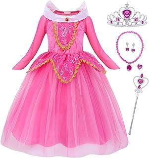 Cotrio Vestido Aurora para meninas de mangas compridas princesa Halloween Cosplay fantasia de festa de aniversário