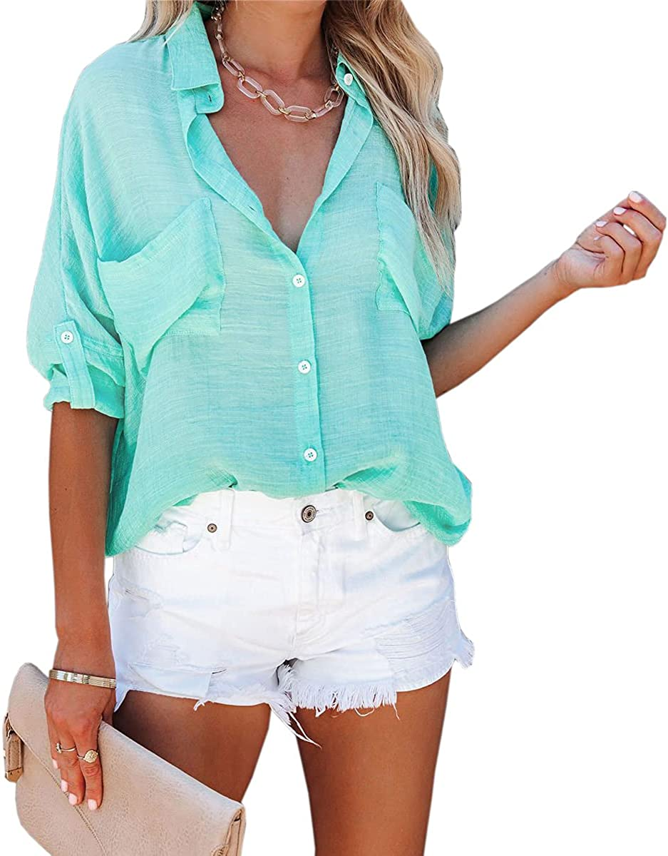 QUNNDY Women's Long Sleeve Button Down Shirt Tops V Neck Collared Roll Up Blouses with Pockets