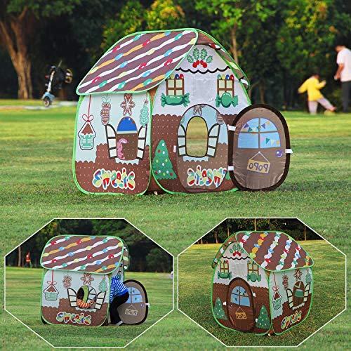 Homfu Tenda Casetta per Bambini e Bambine per Campeggio Esterno Tenda Giocattolo per Bambini con (Gold)
