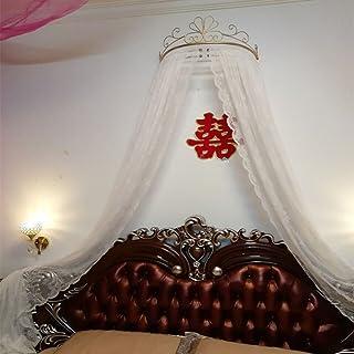 KQCNIFVNKLM Princesa Bed Canopy,Hierro Forjado Europeo Mosquito Colcha Cortinas Cortina Decorativa Corona Red Cortinas-F