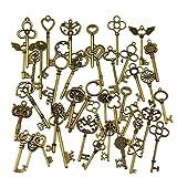 Osuter 69PCS Llaves de Esqueleto Antiguo Aleación de Zinc Llaves Decorativa Vintage Grande para Decoración Accesorios Hechos A Mano Collar Colgantes
