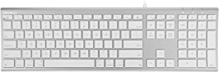 Macally Ultra-Slim USB Wired Computer Keyboard for Apple MacBook Pro/Air, iMac, Mac Mini, Mac Pro, Windows PC Laptops/Desktops and Notebooks - Plug and Play - No Drivers - Silver Finish (ACEKEYA)