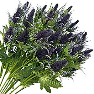 FiveSeasonStuff Real Size Artificial Thistle Flowers Real Touch 8 Stems Rustic Purple and Green Thistle Decor Spray Eryngium | Sea Holly for Wedding Bouquet Centerpiece 26 inches