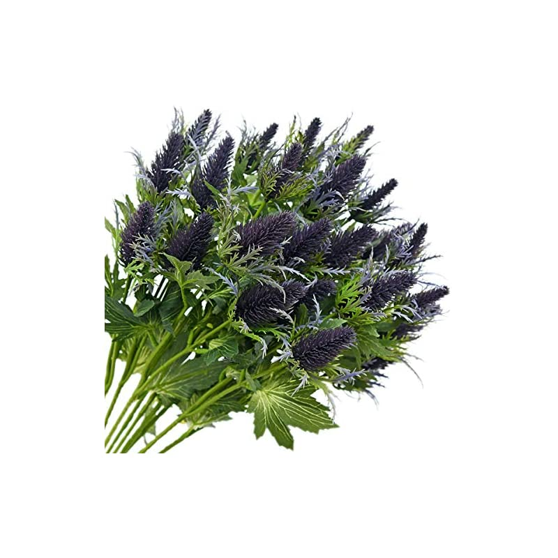 silk flower arrangements fiveseasonstuff real size artificial thistle flowers real touch 8 stems rustic purple and green thistle decor spray eryngium | sea holly for wedding bouquet centerpiece 26 inches