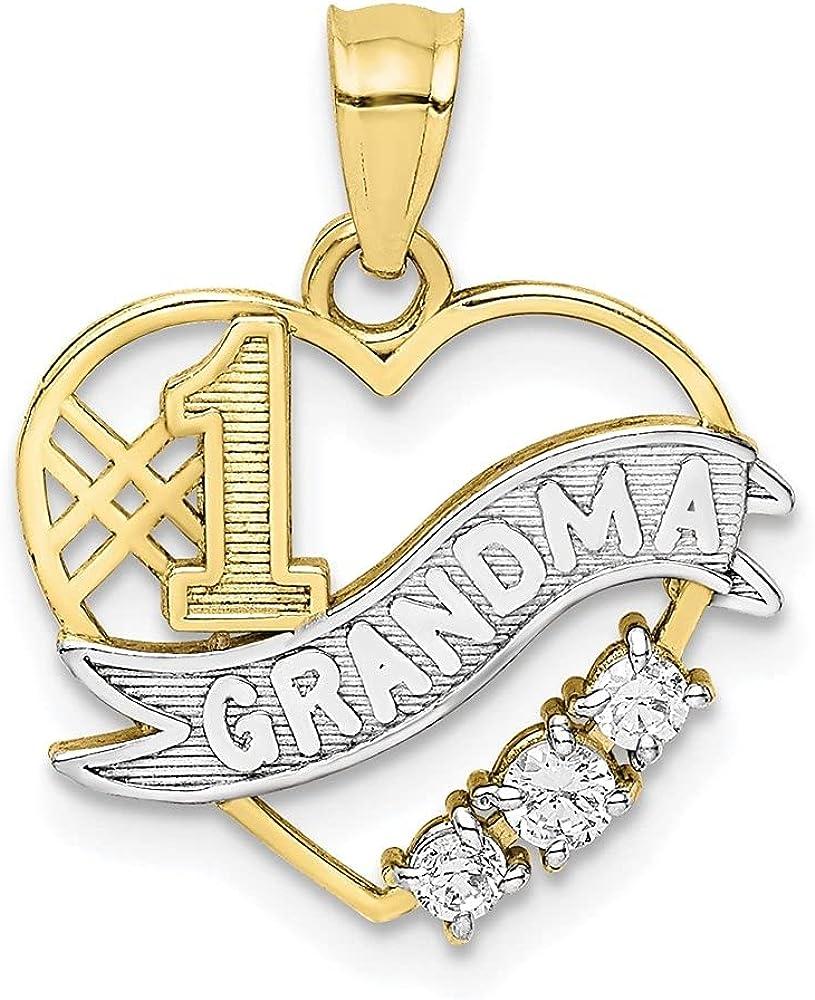 10k Yellow Max 52% Atlanta Mall OFF Gold Cubic Zirconia Rhodium Penda Heart in #1 Grandma