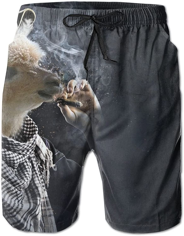 ee54bb69df Tydo Tydo Tydo Quick Dry Beach Shorts Funny Smoking Llama Surfing Trunks  Surf Board Pants With Pockets For Men ba5e72