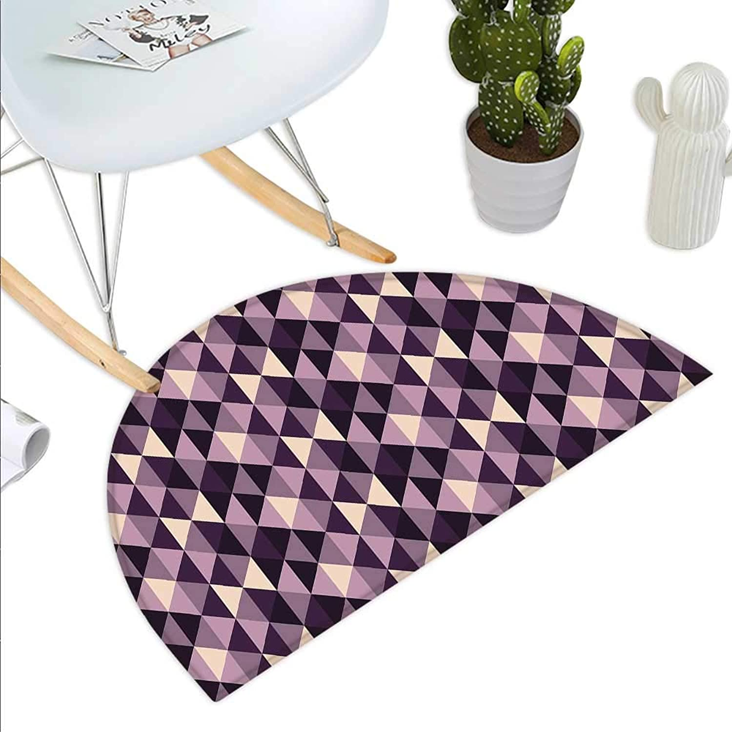 Geometric Semicircle Doormat Abstract Stylized Triangles with Dark and Pale color Shades Halfmoon doormats H 27.5  xD 41.3  Ivory Dark Purple purplec Plum