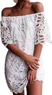 d3c4c977357 YOINS Femme Robe D été Sexy Mini Robe Épaules Nus Robe Courte Imprimé  Florale Dress