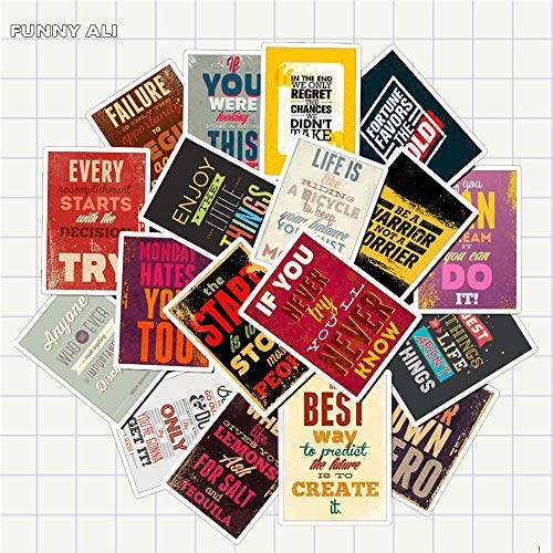 25pcs/Pack Motivational Typography Life Quotes Retro Stickers for kids notebook diary decal laptop bedroom wall stickers