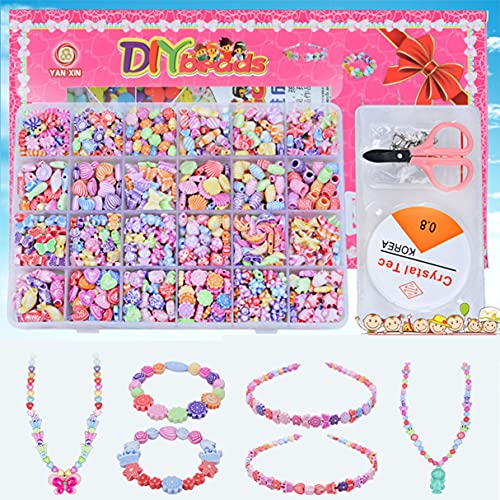 Morninganswer 24 Girds Niños Niñas Juguetes de Bricolaje Juego de Cuentas de Cadena Collar Pulsera Kit de construcción Multicolor