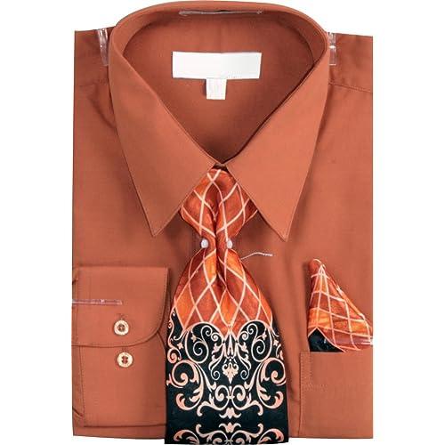 73fc68ccfbc3 Men's Basic Dress Shirt with a Varying Print Tie and Hanky Set Black