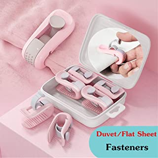 Pink Iamagie Quilt Pins Bed Sheet Fixator Bed Skirt Pins Quilt Fixer Comforter Clips Slipcover Upholstery Fastener Non-Slip Buckles Home Bed Sofa Accessories Pack of 12