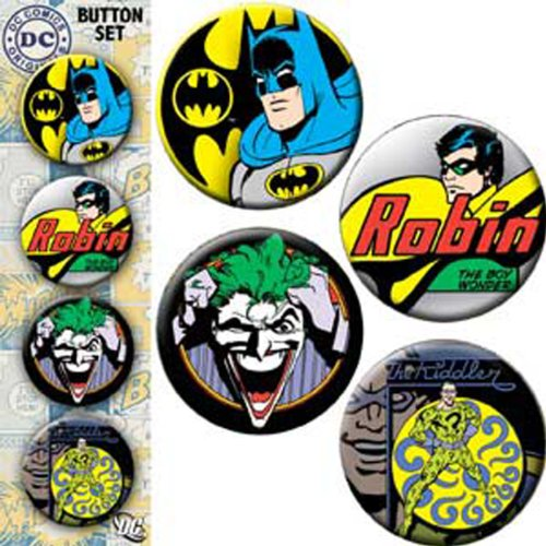 The El BATMAN & ROBIN Assorted Surtido 4 Piece Pedazo BUTTON BOTÓN Set, Officially Licensed DC Comic Superhero Artwork ilustraciones BUTTONS - 1.25' Each