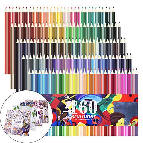 160 lápices de colores, juego de lápices de colores para dibujar, dibujar, pintar, más 4 paquetes de libros de colorear...