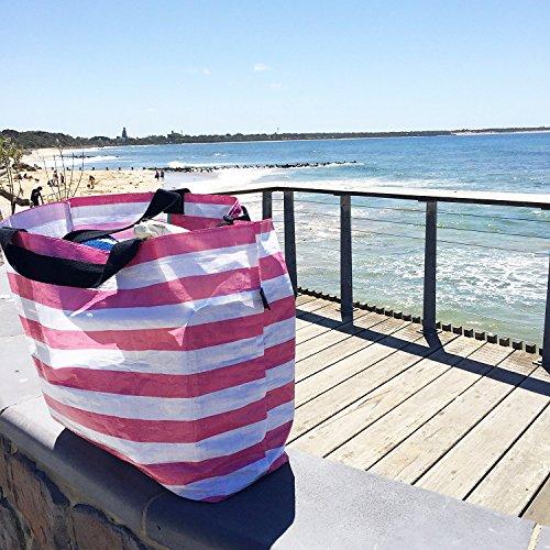 Stylish Beach Bag Pool Bag Lightweight Medium Carry-All Tote Bag Honeysuckle Pink Stripe