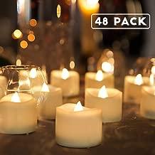 Homemory Battery Tea Lights Bulk, 48-Pack LED Tea Lights, Flickering Tea Lights, Long Lasting Battery Life, Warm White, 1.25'' H X 1.4'' D