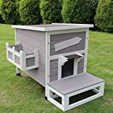 ROCKEVER Outdoor Cat Shelter with Escape Door Rainproof Outside Kitty House Single Story for Two-Three Cats Color Grey