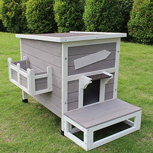 ROCKEVER Outdoor Cat Shelter with Escape Door Rainproof Outside Kitty House Single Story for...