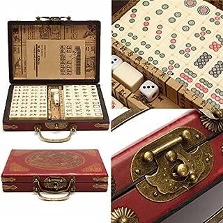Mahjong Mat 144 Tiles Mah-Jong Set Multi-Color Portable Vintage Mahjong Rare Chinese Toy with Bamboo Box 1.9cm x 1.1cm x 1.3cm