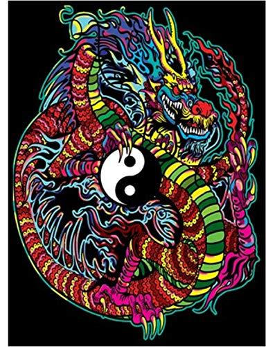 Terciopelo colorvelvet de 47x35 cm para colorear con caja de rotuladores - Dragón Yin Yang
