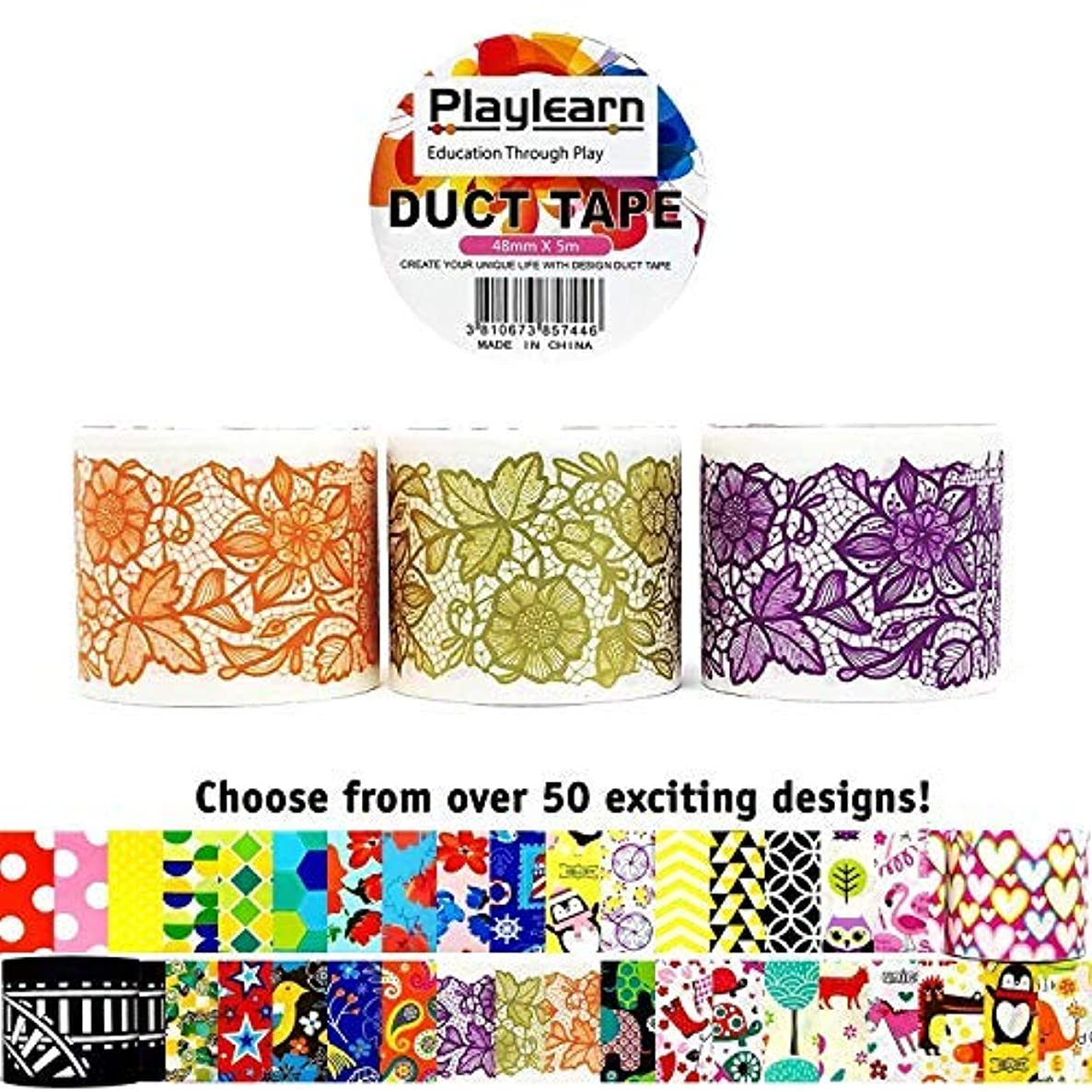 Design Duct Tape 48mm x 16 Feet - Kids Fun Extra Strong Printed Arts & Crafts Multi Pack - by Playlearn (Lace Ribbon)
