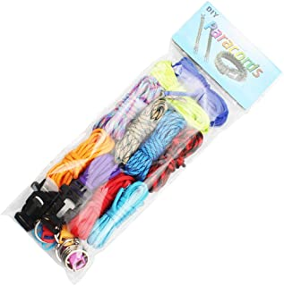 Paracord Bracelet Kit 10pcs Parachute Cord DIY Weaving Craft Tool Kit with 10 Colorful Buckles, 2 Multifunctional Buckles and 10 Key Rings (Rainbow Color)