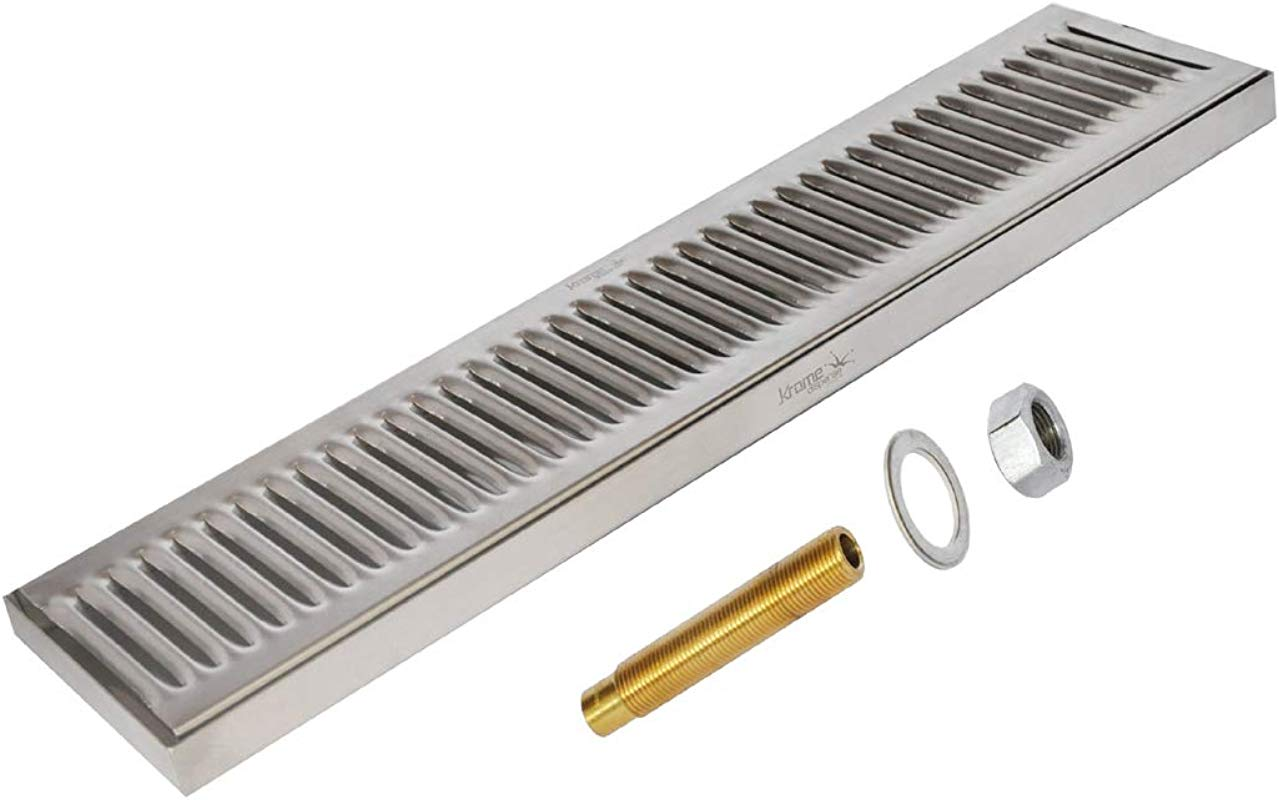 Krome 24 X 5 Surface Drip Tray With Drain Brushed Stainless C617