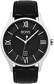 Hugo Boss Mens Quartz Watch, Analog Display and Leather Strap 1513485 Black