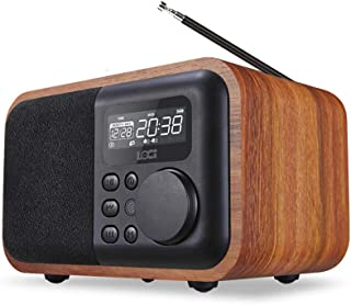 Portable FM Radio, Vintage Radio Retro Bluetooth Speaker, Digital Radio with Alarm, LED Display Knob Adjustment, with Old ...