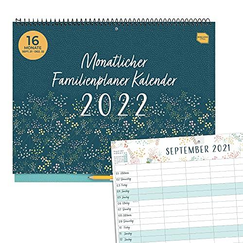 Boxclever Press Monatlicher Familienplaner 2022. Kalender 2022 Wandkalender mit 6 Spalten. 16-monatiger Wandkalender 2022 Groß ab sofort nutzbar bis Dez'22. Familienkalender 2022 mit Stickern.