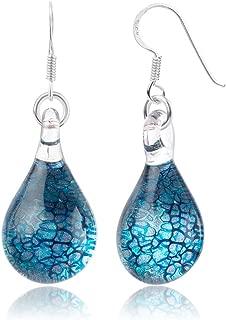925 Sterling Silver Hand Blown Venetian Murano Glass Blue Silver Water Drop Shaped Dangle Earrings