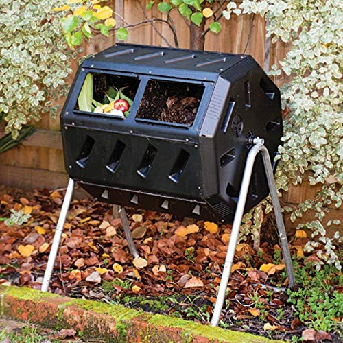 Review Of Outdoor 37-Gallon Capacity Dual-Chamber Tumbling Composter Makes Compost in 2 Weeks, Recyc...