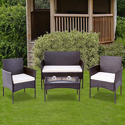 QWEPOI Conjunto de muebles de jardín de polirratán, grupo de asientos para 4 personas, muebles de balcón, sofá y mesa, juego de salón, incluye cojín para jardín, balcón y terraza, color marrón