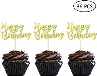 Gold Happy Birthday Cupcake Topper Picks for Celebrating Birthday Party Decorations 36PCS