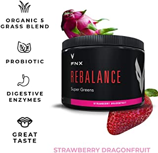 FNX Rebalance Organic Greens Powder Superfood Blend with Wheatgrass, Barley, Alfalfa, and Oat Grass, 17 Strain Digestive Enzyme Probiotic, 0g of Sugar, Strawberry Dragonfruit