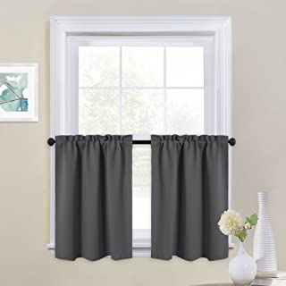 NICETOWN Kitchen Blackout Window Tiers - Thermal Insulated Home Decor Blackout Curtain Valances for Cafe (29W by 24L inches, Grey, 1 Pair)