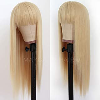Maycaur Blonde Synthetic Hair Wigs with Full Bangs #613 Color Long Straight Women's Wig Heat Resistant Synthetic No Lace W...