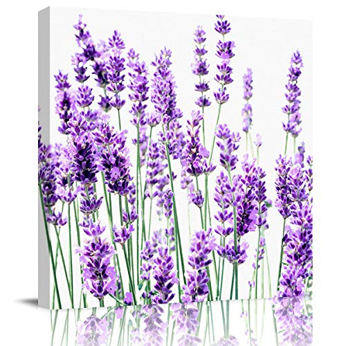 Floral Floral Lavender Canvas Wall Art Oil Painting-Rural Purple Elegant Lavender Flowers,Frame Stretched Wall Modern Artwork for Bedroom/Living Room/Bathroom Decor,Ready to Hang,1 Panel 12'x12'