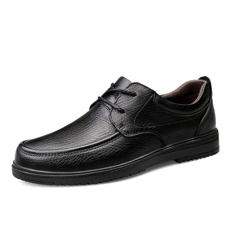 男士革靴 メンズビジネスシューズ本革オックスフォードカジュアルラウンドトゥクラシックレースアップフラットフォーマルビジネスシューズ耐摩耗性 個性な (Color : ブラック, サイズ : 25.5 CM)