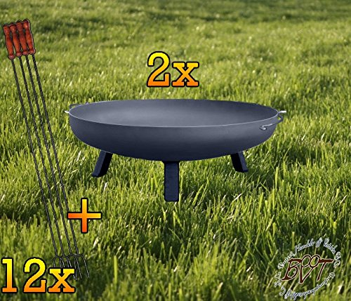 BTV Zwei Starke Feuerschalen mit rechteckigen Füßen, XXXL ca. 100cm + 12 Grillspieße Feuerschale mit rechteckigen Füßen, XXXL ca. 100cm Holzkohlegriller Würstchengrill