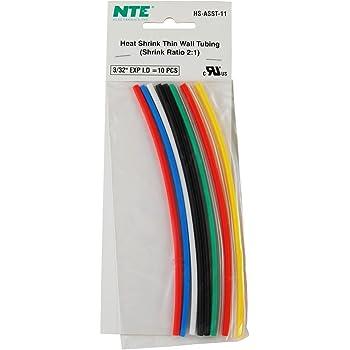 NTE Electronics 47-20006-BK Heat Shrink 3//64 In Dia Thin Wall Black 6 In Length