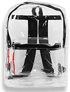 Transparent Security Clear Backpack Sports Events Bag w/Black Trim